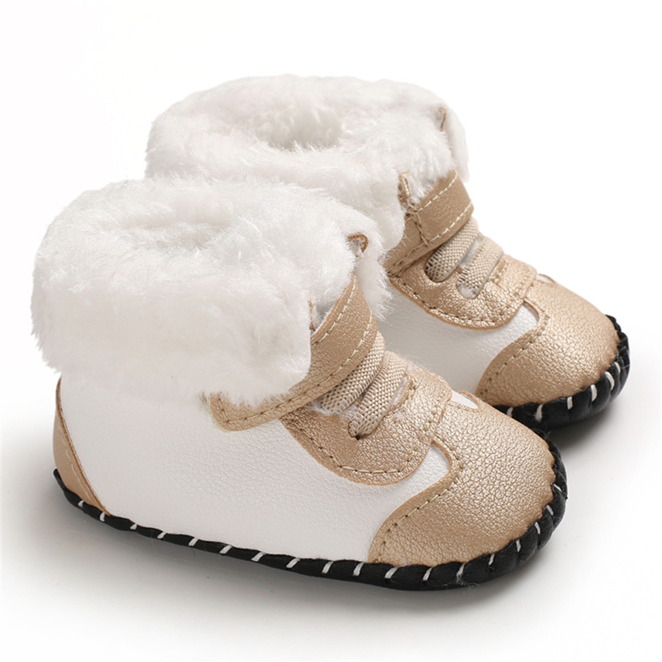 2019 New Cute Newborn Baby Girls Boys Snow Boots Winter Leather Boots Infant Soft Bottom Shoes Baby PU Furry Warm Boots 0-18M