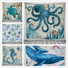 Home Tapestry Sea Life Series Print Turtle Whale Hippocampus for Living Room Bedroom Large Wall Wall