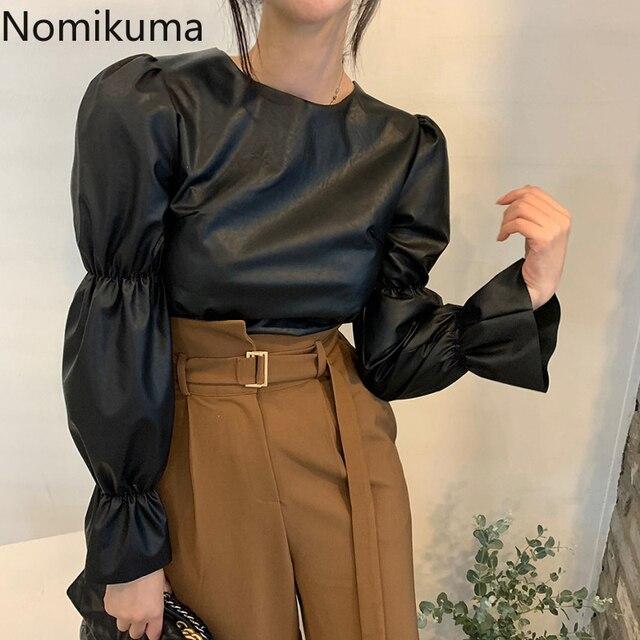 Nomikuma Backless Lace Up Puff Sleeve Shirts Women Solid Color O Neck PU Leather Stylish Blouse Female Korean Chic Blusas Mujer 3
