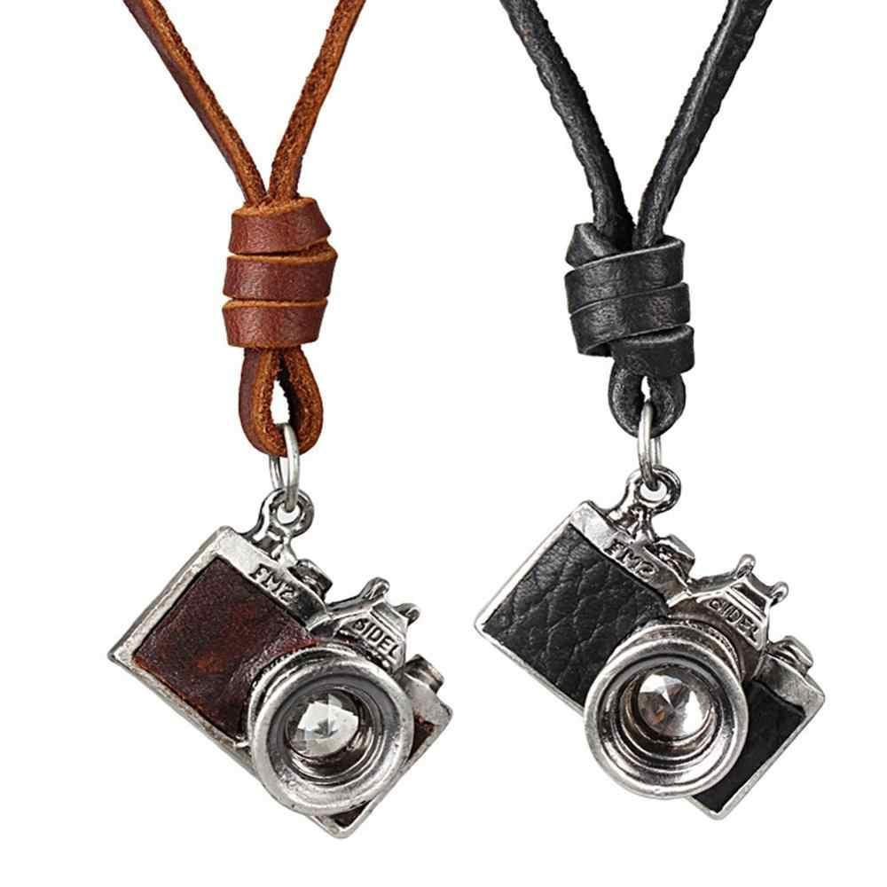 Hommes colliers pendentifs Punk noir cuir collier Antique caméra alliage chandail chaîne longue chaîne bijoux
