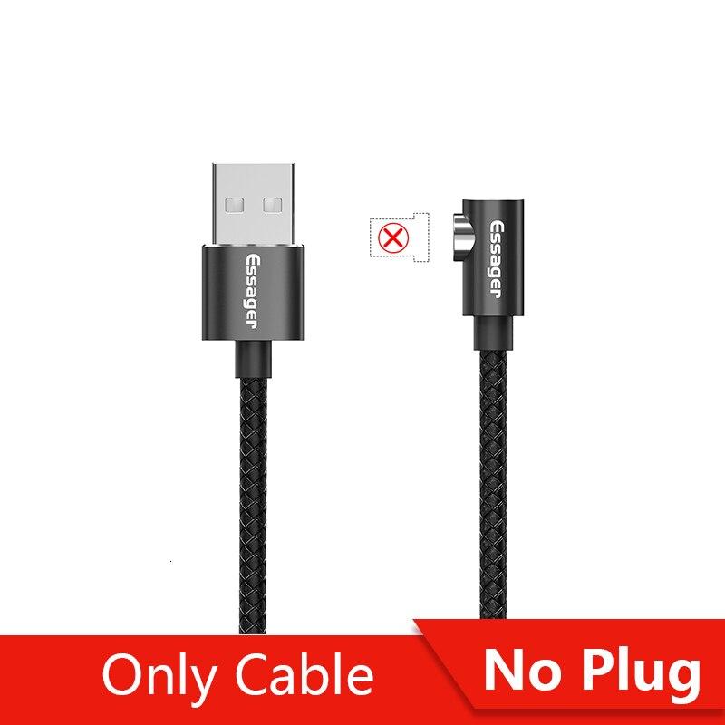 Магнитный Micro USB кабель Essager для iPhone samsung, кабель для быстрой зарядки и передачи данных, Магнитный зарядный кабель usb type-C для мобильного телефона - Цвет: No Plug Only Cable