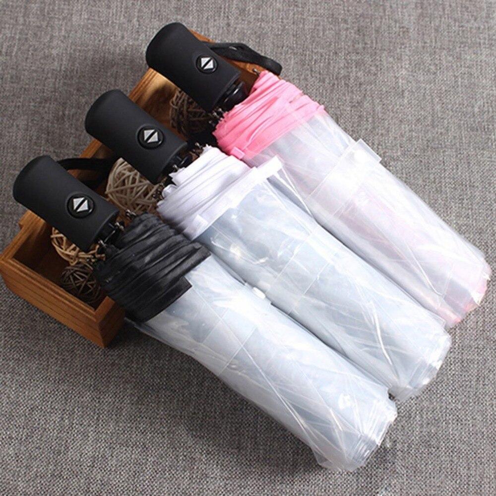 Anglebless Compact Fully Automatic Umbrella Three Folding Clear Windproof Umbrellas Women Men 8 Rib Rainproof Transparent Umbrella Gift