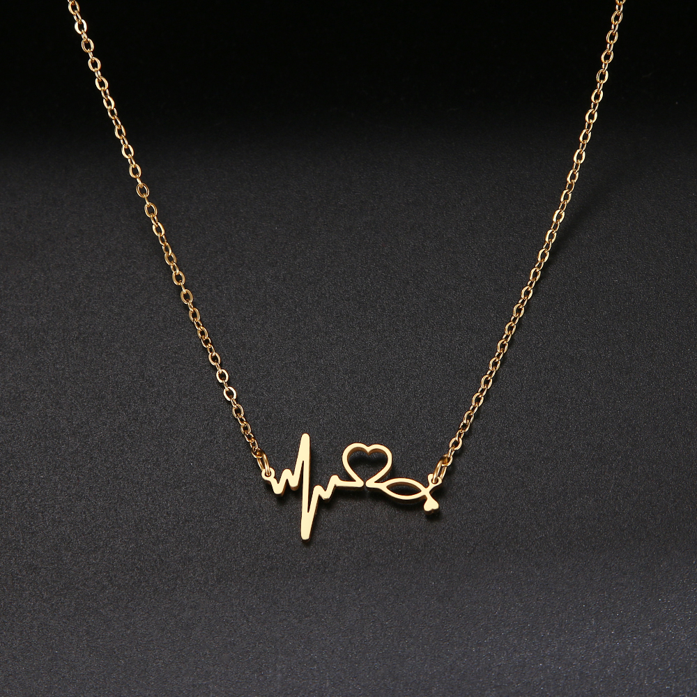Trendy Creative Heartbeat Necklace For Women  Heart Pendants Lover Gifts