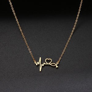 Gold Necklace Pendants Stethoscope Gifts Stainless-Steel Medical Heartbeat Doctor-Lover