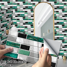27Pcs/Pack 20x10cm Green Agate Marble Bricks PVC Self-adhesive Wall Stickers DIY Bathroom Kitchen Wall Tile Stair Sticker