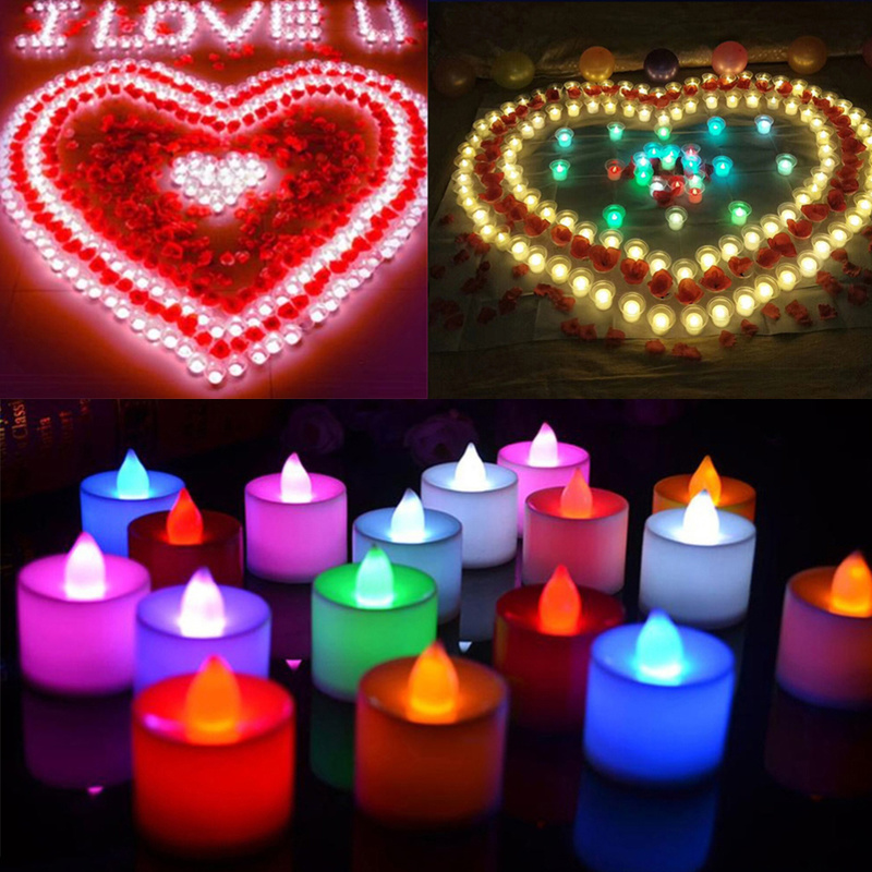 1pcs Flameless Amber Candles Electronic Led Candle Light / Yellow Led Tea Lights / Romantic Home Love Decoration Candle Wax