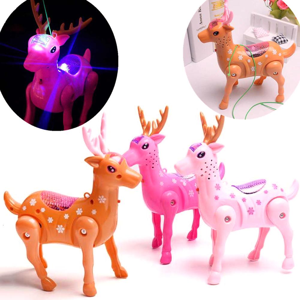 игрушки Juguetes Kids Glowing Electric Toy Walking Musical LED Sika Deer Animal Toy With Leash Interactive Kid Toy With Music Li