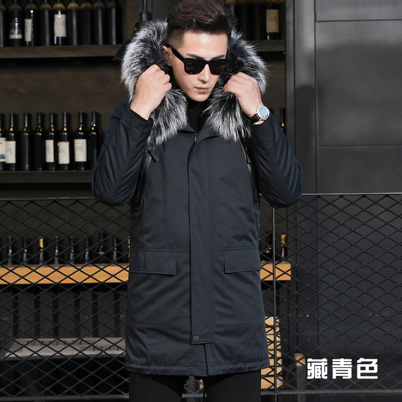 Real Fur Coat Natural Rabbit Fur Liner Parka Winter Jacket Men Real Raccoon Fur Collar Jackets Plus Size Natural Fur Parka YY799