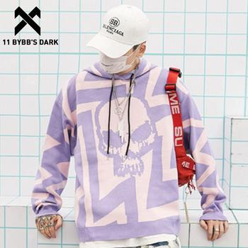 11 BYBB'S DARK Kulls Printed Knitted Mens Hooded Sweater 2019 Autumn Harajuku Streetwear Ripped Casual Cotton Outwear Pullover
