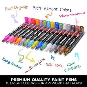 Image 3 - 15 kolorów akrylowy marker do malowania marker szkic piśmiennicze pióro malowanie zestaw do malowania szklana ceramiczna skała porcelanowa