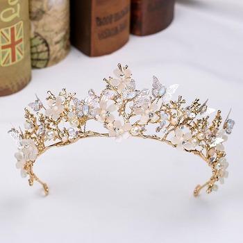 FORSEVEN złoty kwiat motyl tiary ślubne korony barokowa złota perła Diadem chluba włosów biżuteria ślubna akcesoria do włosów JL tanie i dobre opinie CN (pochodzenie) Ze stopu cynku Moda Kryształ Kobiety TRENDY Hairwear 35081 PLANT