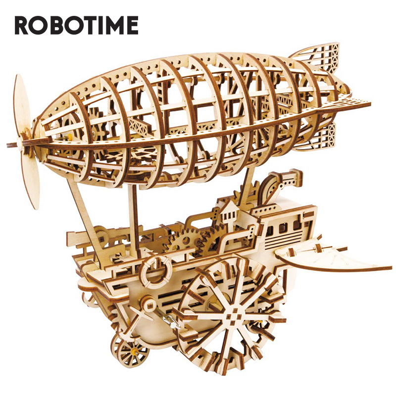 Robotime ROKR DIY 3D Wooden Puzzle Mechanical Gear Drive Air Vehicle Assembly Model Building Kit Toys for Children Adult LK702