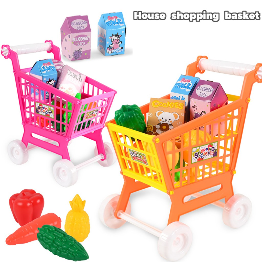 Groceries Toy 21pc Children Kitchen Toy Shopping Cart Set Pretend Play House Fruit Vegetable Miniature Food Girl Educational Toy