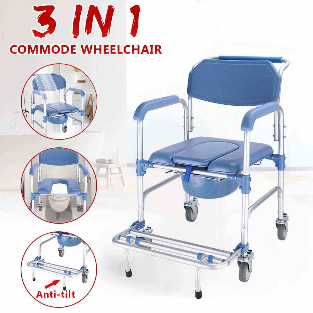 5 in 5 Commode Wheelchair Bedside Toilet & Shower Seat Bathroom