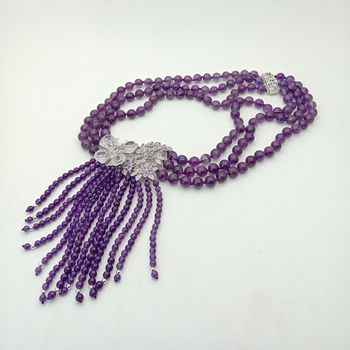 18'' 3 Strands Natural Round Amethyst Necklace Zircon Pendant