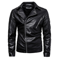 New Design Motorcycle Biker PU Leather Jacket Black Slim fit Turn down Collar Mens Leather Jacket and Coats Plus Size L 6XL 2019