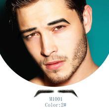 Neitsi adam için % 100% insan saçı Remy saç görünmez el yapımı sahte kaşları el bağlı yanlış kaşları M1001