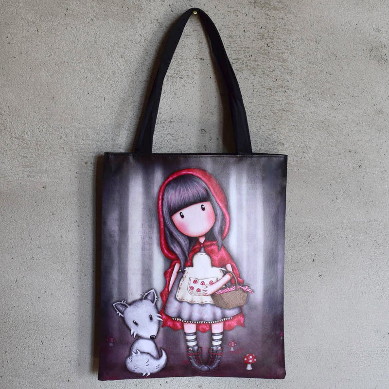 Famous Designer Women Handbag High Quality Durable Canvas Shoulder Bag Fashion Cartoon Printing Girls School Bag Shopping Bag