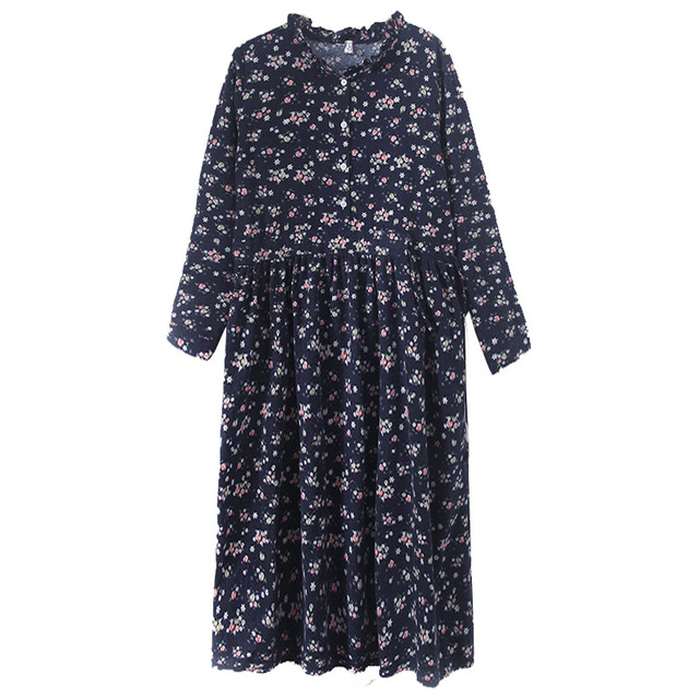 Uego Fashion Autumn Dress Linen Cotton Print Floral Prairie Chic Vintage Dress Drawstring Slim Women Casual Spring Midi Dress 3