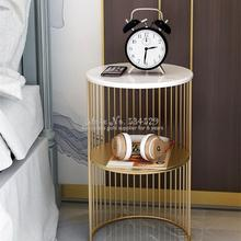 Nordic Wrought Iron Sofa Corner Side Table  Small Coffee Table Shelf, Living Room Mini Round Marble Table Living Room Furniture