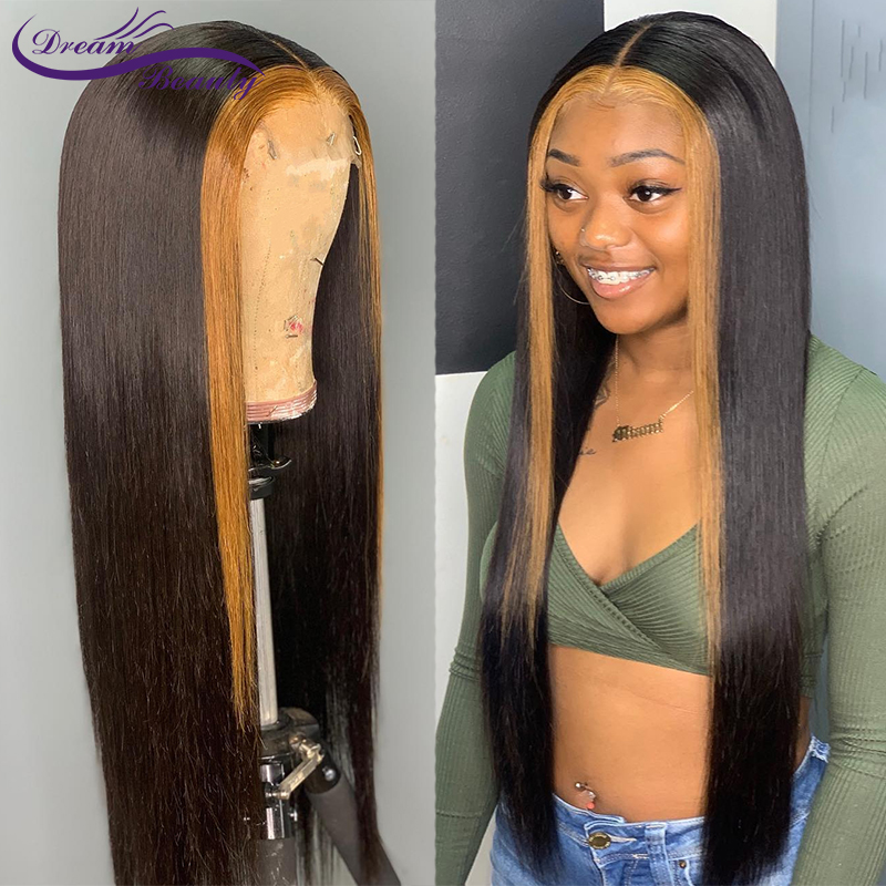 13x6 Ombre Highlight Human Hair Wigs Pre Plucked Lace Frontal Wig Baby Hair Brazilian Blonde Remy Straight Wig Dream Beauty