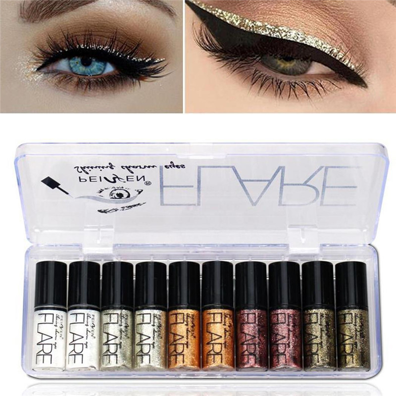 Portable 5 Colors Metallic Shiny Smoky Eyes Eyeshadow Waterproof Glitter Liquid Eyeliner
