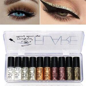 Portable 5 Colors Metallic Shiny Smoky Eyes Eyeshadow Waterproof Glitter Liquid Eyeliner Makeup Eyeshadow(China)