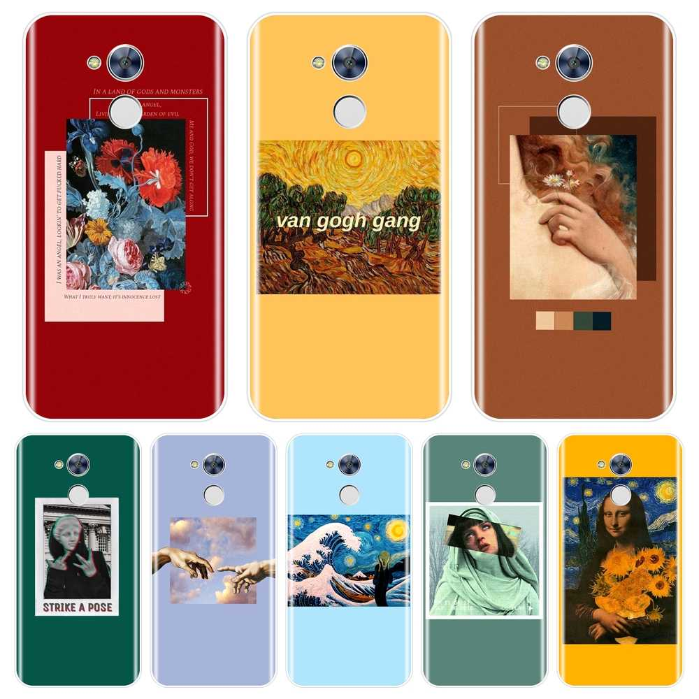 Soft Phone Case Siliconen Voor Huawei Honor 6 5A 4X 5X 6X 6A Geel Van Gogh Red Back Cover Voor huawei Honor 4C 5C 6C 6A Pro Case