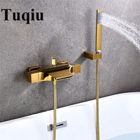 Bathtub Shower Set Wall Mounted Gold Waterfall Bathtub Faucet, Cold and Hot White Bath and Shower Mixer Tap Brass Black/Chrome