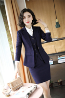 High Quality Fabric Uniform Designs Business Suits with 3 Pieces Sets Skirt and Tops and Vest & Waistcot Women Work Wear Blazers