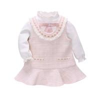 Infants 2019 Autumn Sweet Baby Girl Ruffle Long Sleeve Tshirt with Bow+Sleeveless Plaid Dress with Pockets Dress Sets