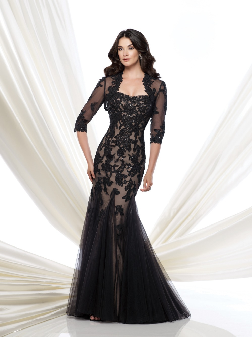 Fashion Long Mermaid Black Appliques Evening Gown 2018 Jacket Prom Women Custom Lace Appliques Mother Of The Bride Dresses