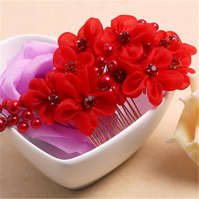 Red Flower Hair Comb For Bride Floral Hairpin Clips Wedding Jewelry Accessories Bridal Crystal Hair Clip Bride Headwear Headband