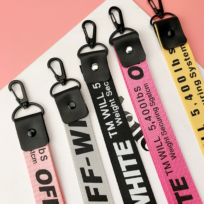 Off White Keychain Ribbon Key Chain Porte Clef Phone Case Key Ring Llaveros Sleutelhanger Chaveiro Portachiavi Bag Charm