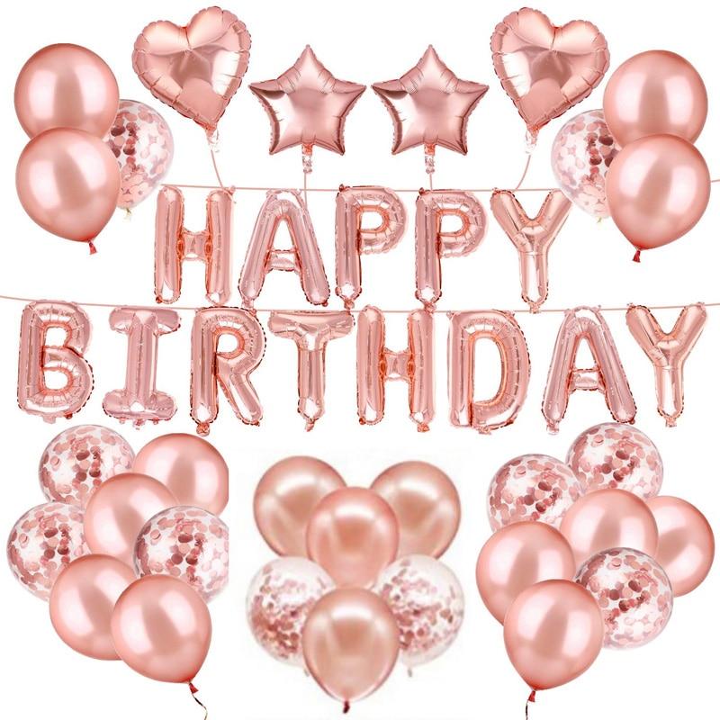 Rose Gold Theme Happy Birthday Letters Party Decoration Foil Balloons Set Baby Shower Ballon Celebration Decor Supplies