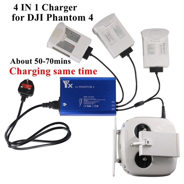 4In1 Intelligent For DJI Phantom 4/4PRO/+/4A Drones Battery Remote Controller Charger Smart Fast Charging Same Time Hub Parts