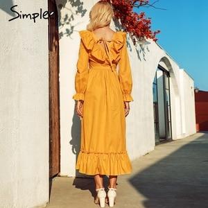 Image 3 - Simplee vestido navideño de talla grande elegante, vestido largo liso de algodón con volantes para mujer, vestido elegante para vacaciones de otoño e invierno