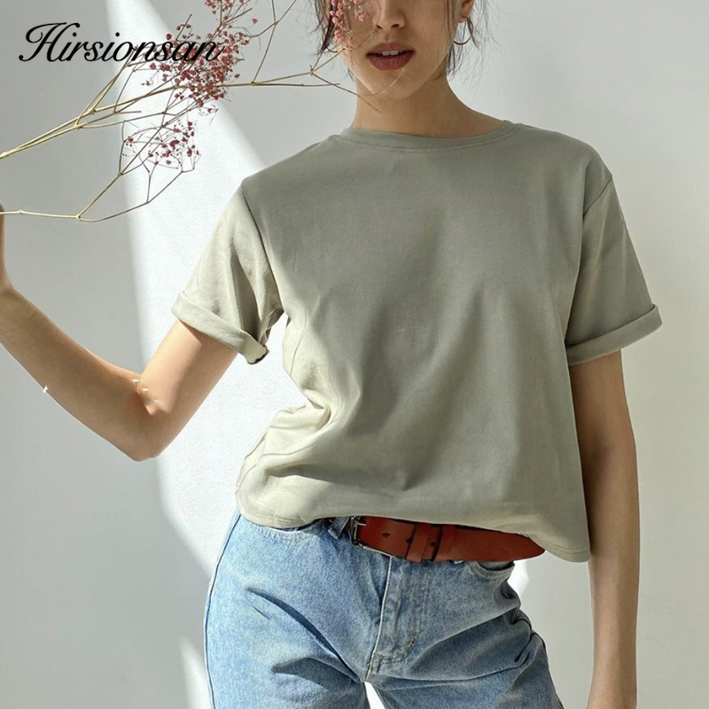 Hirsionsan 100% Cotton Oversized T Shirt Women Harajuku Basic Loose Short Sleeve Tees Soft Female Solid Tops Khaki Summer Jumper