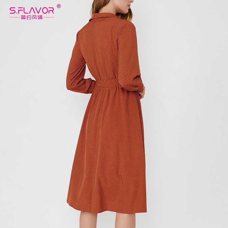 S. FLAVOR kobiety w stylu Vintage sukienka w kropki pojedyncza koszula na guziki szczupła linia sukienka z długim rękawem wiosna Midi sukienka
