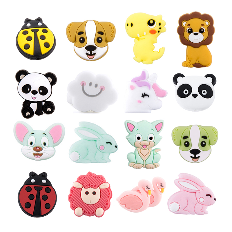 5pc Silicone Animal Beads Baby Teether Food Grade Perle Silicone Rodent DIY Pacifier Clips Chain Nursing Bracelets Baby Products