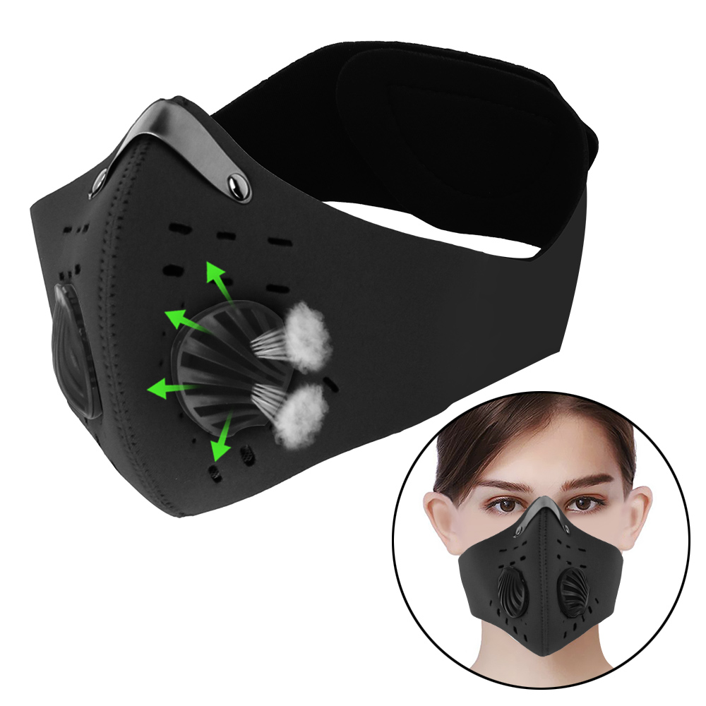 VATINE 1pc Cycling Mask With Filter Breathing Valve Activated Carbon Anti-Pollution Masks Protective Cycling Mask