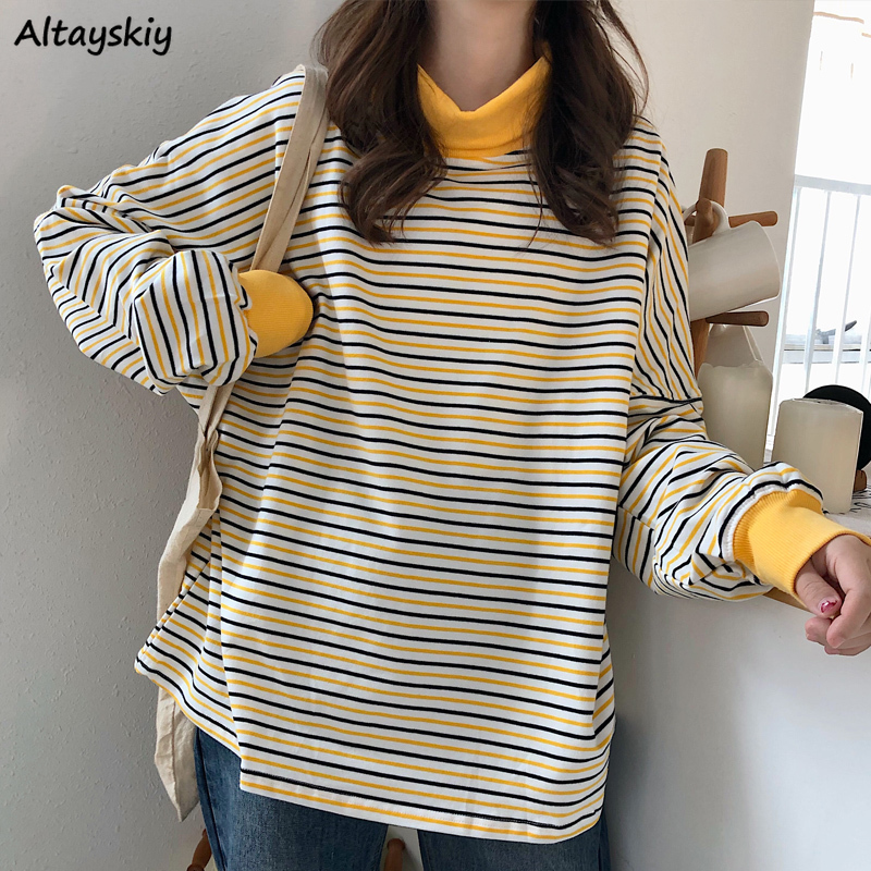 Hoodies Women Striped Turtleneck Patchwork Yellow Kawaii Japanese Style All-match Loose Students Simple Cute Basic Sweatshirt