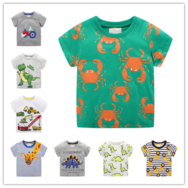 Children T-shirt For Baby Boys Animal Print Dinosaur Boys T Shirt For Kids Tops Tees Cartoon Kids T-shirts Clothes 2-7 Years