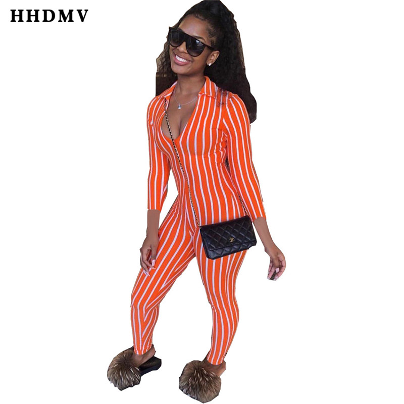 HHDMV MOM5014 new fashion casual holiday beach style jumpsuits long sleeve deep v zipper striped tight jumpsuits long pants