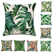 Tropical Plants Palm Leaf Green Leaves Cushion Cushion Decorative Beige Linen Pillow цены