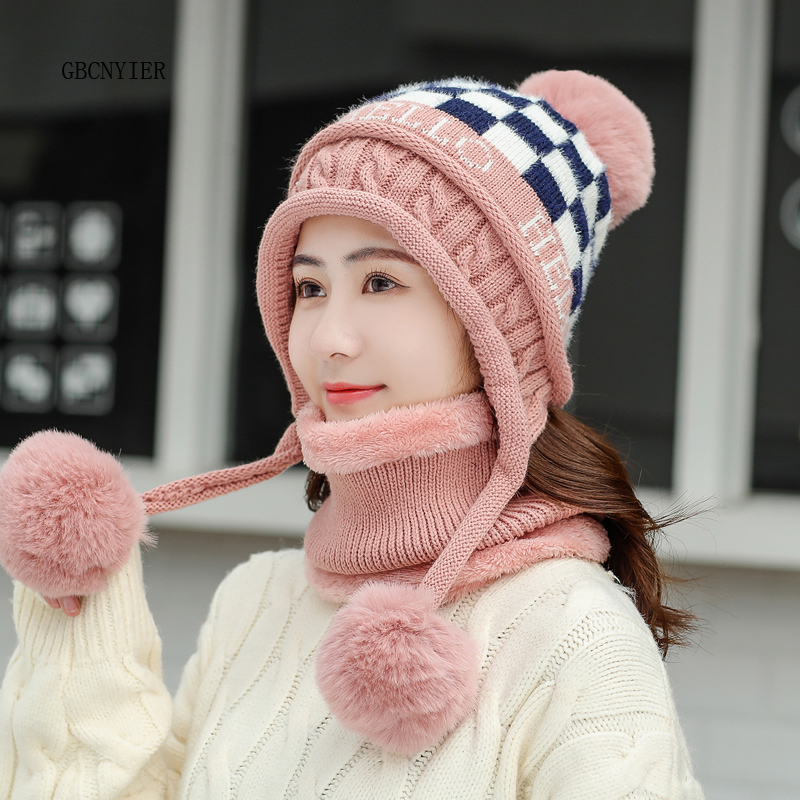 GBCNYIER Hat Female Winter Plus Velvet Thickening Cycling Windproof Cap Warm Earmuffs Winter Cold Wool Cap Female