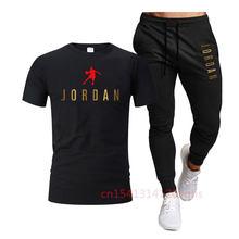Summer 2021 hot-selling men's brand T-shirt + trousers men's casual suit sportswear basketball uniform sports shirt + pants suit