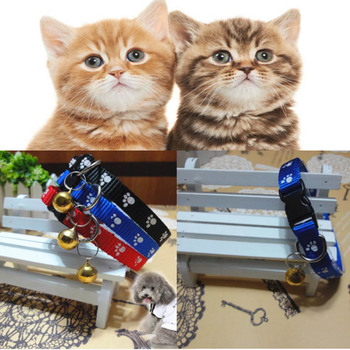 New Printing Lovely Cat Pet Collar Kitten Puppy Small Footprint Bell 1pc Adjustable Nylon Fabric Pet Dog Supplies image