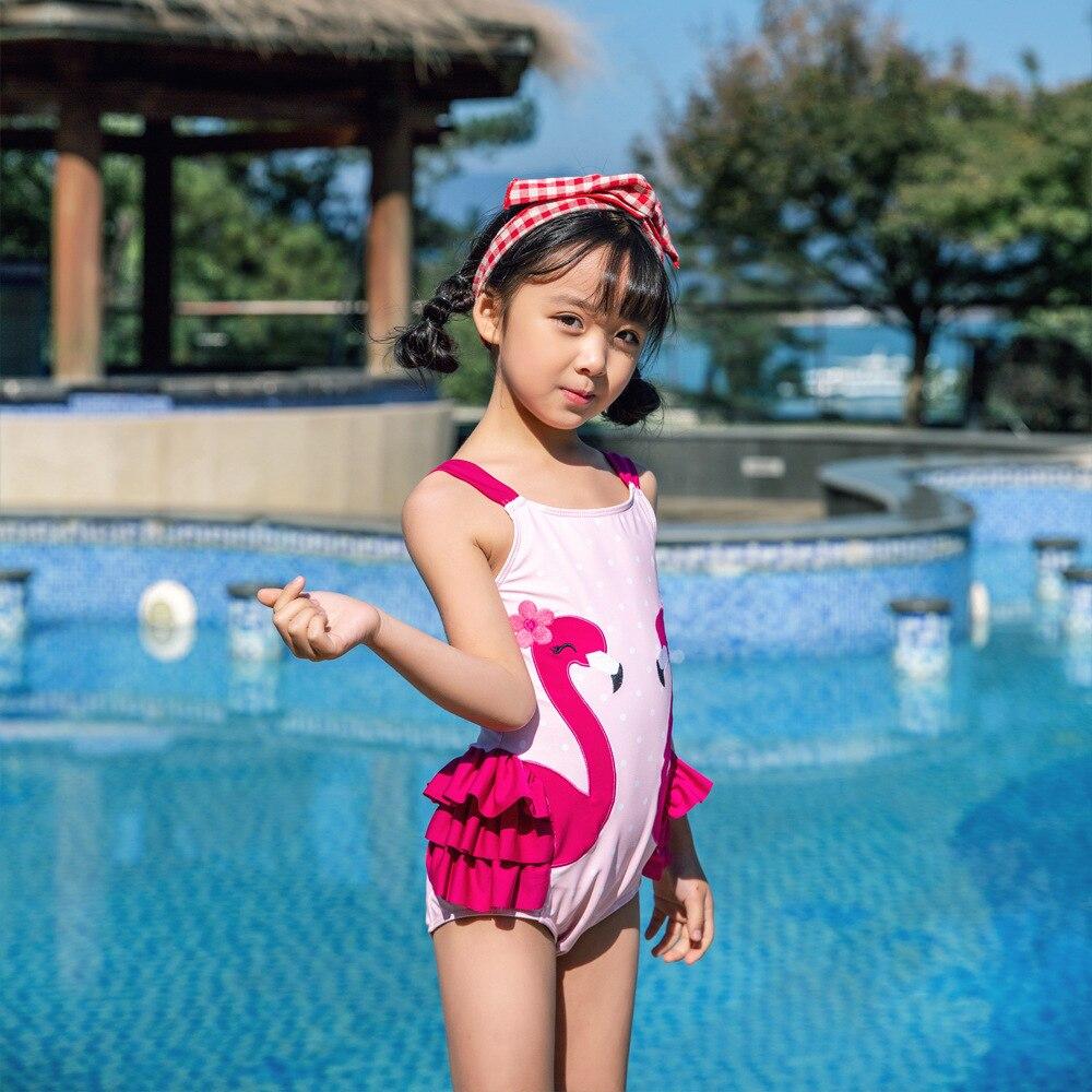 2019 Children Siamese Swimsuit Female Baby Hot Springs Swimwear Flamingo Machine Embroidery Cute Olive Flower 1017