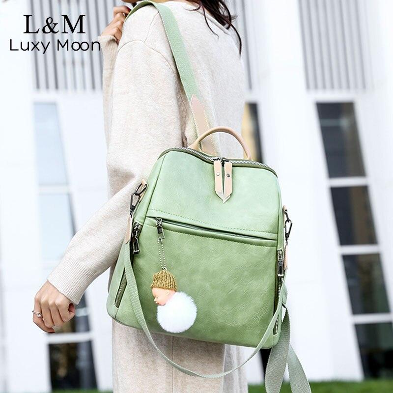 Leather Women Backpack Multifunctional A4 Rucksack For Female Vintage PU Backpacks Teenagers Girls Backpack Mochila Strap XA595H